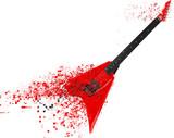 Red heavy metal electric guitar disintegrating into pixels - 3D Illustration