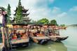 Quadro China traditional tourist boats on canals of Shanghai Zhujiajiao Water Town in Shanghai, China