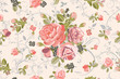Living Coral Focal Point Rose Bouquet with Floral Swirls Repeat Seamless Pattern Swatch - 248077353