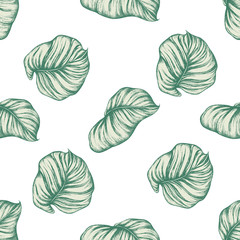 Seamless pattern with hand drawn pastel philodendron, calathea