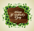 clovers plants with wood emblem to st patrick event - 248086975