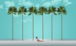 Tall palm trees and a sunbather on a white sand beach set the scene for a vacation destination