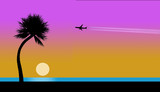 An airliner with contrail is seen in the sky traveling to a tropical beach, pelicans, sunset, juggler, palm tree, ocean and beach in foreground.