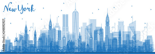 Outline New York USA City Skyline with Blue Buildings. - 248092927