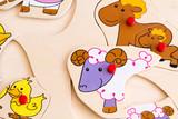 Farm animals toddler wooden peg puzzle