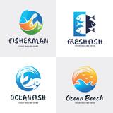 Fish Logo Set Design Template Collection