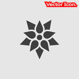 Lotus icon isolated sign symbol and flat style for app, web and digital design. Vector illustration.