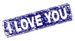 I LOVE YOU stamp seal print with grunge texture. Seal shape is a rounded rectangle with frame. Blue vector rubber print of I LOVE YOU title with dust texture.