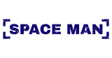 SPACE MAN tag seal stamp with distress texture. Text tag is placed inside corners. Blue vector rubber print of SPACE MAN with unclean texture. - 248101711