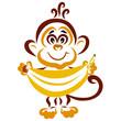 Leinwanddruck Bild - Little funny monkey with a big banana in his hands