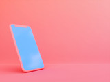 mobile phone in Living Coralcolor background  , 3d render