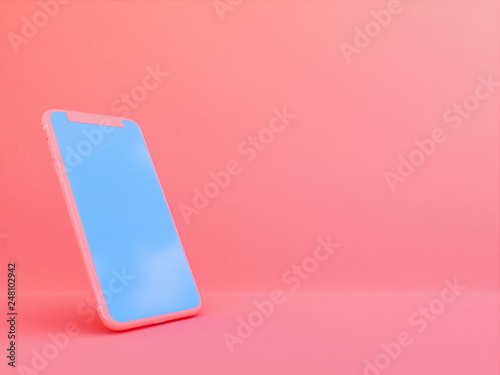mobile phone in Living Coralcolor background  , 3d render © patpongstock