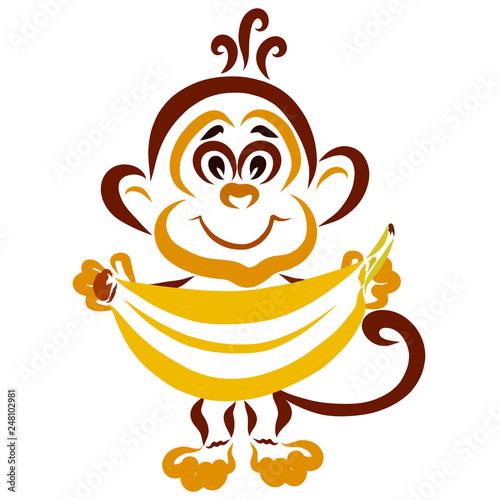 Leinwanddruck Bild Little funny monkey with a big banana in his hands