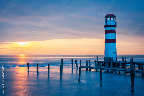 Lighthouse on the lake neusiedl in winter © Ewald Fröch