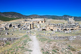 Hierapolis ancient city ruins, North Roman Gate, Pamukkale, Denizli Turkey