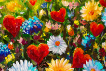 "Постер, картина, фотообои ""Original oil painting on canvas. Modern art. Yellow blue daisy flowers and red hearts on a sunny spring field"""