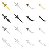Vector design of game  and armor  symbol. Set of game  and blade  vector icon for stock. - 248116357