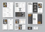 Set of black and white vector menu for restaurant with orange design elements. - 248117925