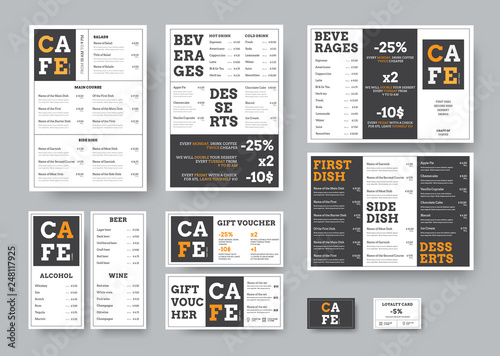 Set of black and white vector menu for restaurant with orange design elements.