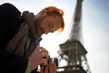 Photographer at work in the city centre of Paris