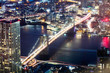 Elevated View Of Illuminated Brooklyn Bridge At Night
