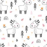 Kids seamless pattern with cute reindeer