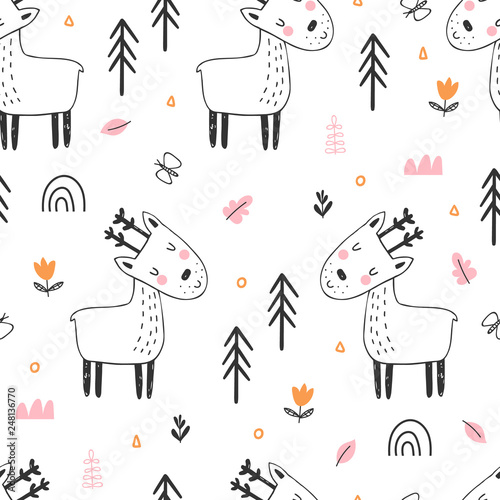 fototapeta na ścianę Kids seamless pattern with cute reindeer