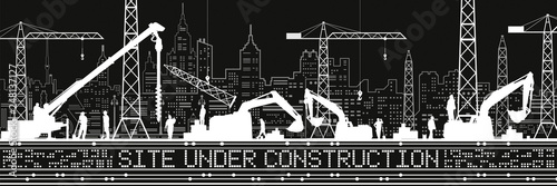 Site Under Construction illustration. Buildings panorama, industrial landscape, Constructional cranes and excavators, urban scene. People working. Vector lines design art - 248137127