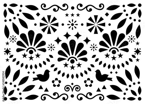 Mexican traditional folk art vector geometric pattern with flowers and birds, black and white greeting card or invitaion design inspired by traditional art from Mexico