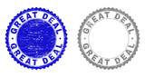 Grunge GREAT DEAL stamp seals isolated on a white background. Rosette seals with grunge texture in blue and gray colors. Vector rubber stamp imitation of GREAT DEAL title inside round rosette. - 248145357