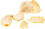 Peeled tangerine peel isolated on white background