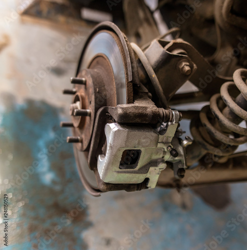 Repair of brake system on car wheels © schankz