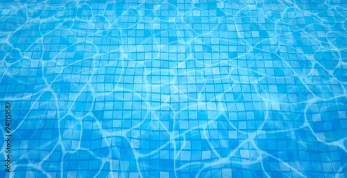 Swimming pool bottom caustics ripple and flow with waves background. Summer background. Texture of water surface. Overhead view. Vector illustration background - 248151587