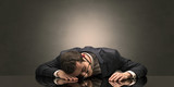 Young businessman fell asleep at his workplace with copy space - 248154767