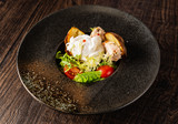 roasted potato with poached egg - 248161929