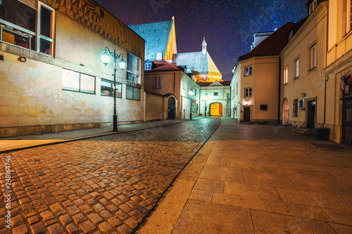 Warsaw at starry night