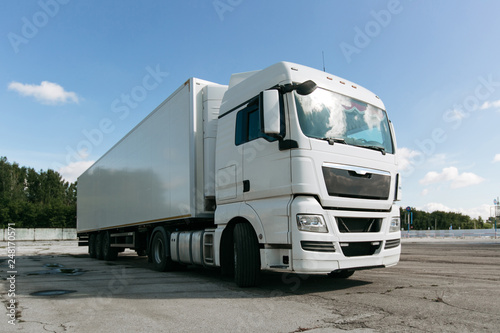white truck with trailer - 248170571
