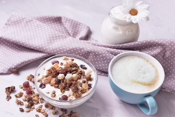 Natural yoghurt with granola nuts and dried fruits. natural healthy food.