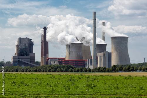 Leinwandbild Motiv Coal-fired power plant near lignite mine Garzweiler in Germany
