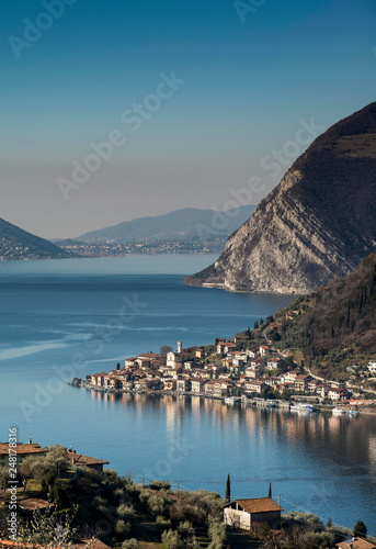view of Montisola,Island in the Lake Iseo in Italy