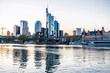View of Frankfurt am Main, skyline at dusk, Germany, Europe