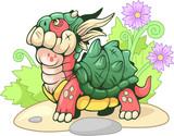 Cute little cartoon turtle dragon, funny illustration - 248181392