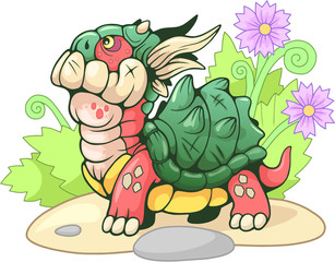 Cute little cartoon turtle dragon, funny illustration
