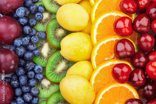 Leinwandbild Motiv Fresh fruits.Assorted fruits colorful background. Color range
