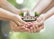 Leinwandbild Motiv Home loan, house insurance, family assurance protection, and private property legacy planning concept