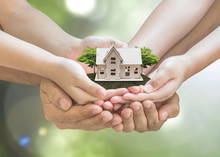"""Постер, картина, фотообои """"Home loan, house insurance, family assurance protection, and private property legacy planning concept"""""""