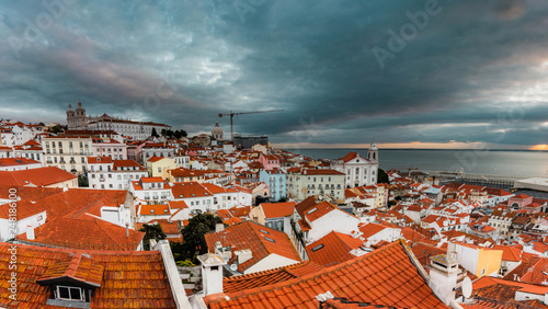 Early morning, sunrise with clouds view from viewpoint on Alfama, Lisbon - 248186100