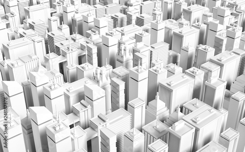 Low poly modern city model. 3D render - 248187378