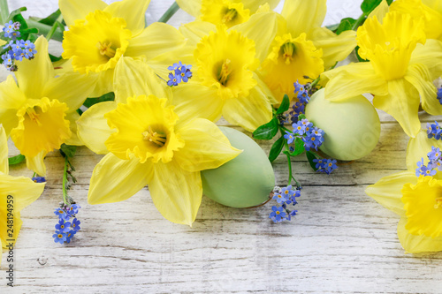 Daffodils and forget-me-not flowers