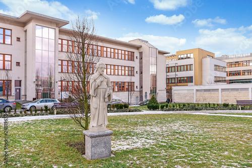 KRAKOW, POLAND - JANUARY 20, 2018: The Jagiellonian University. Modern campus buildings in Krakow, Poland.